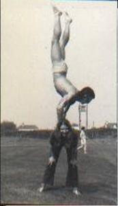 Acrobatic act adult very grateful