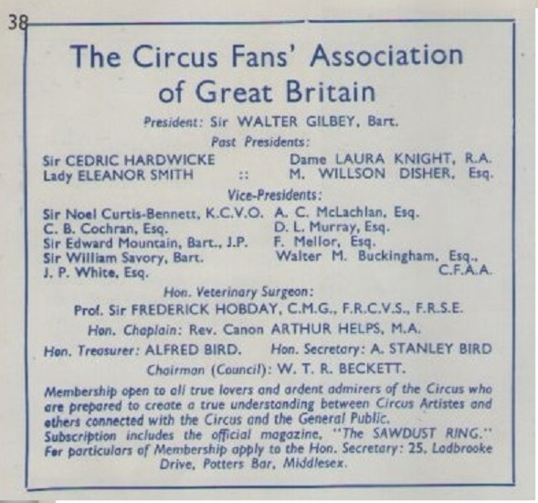 Circus Friends Association sad decline